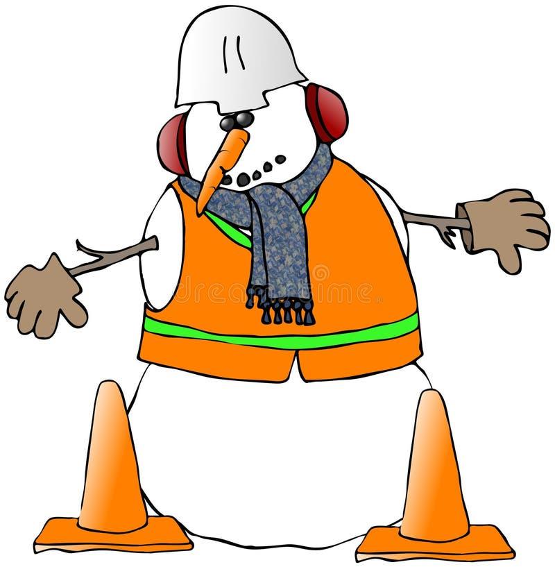 Trabajador de construcción del muñeco de nieve ilustración del vector