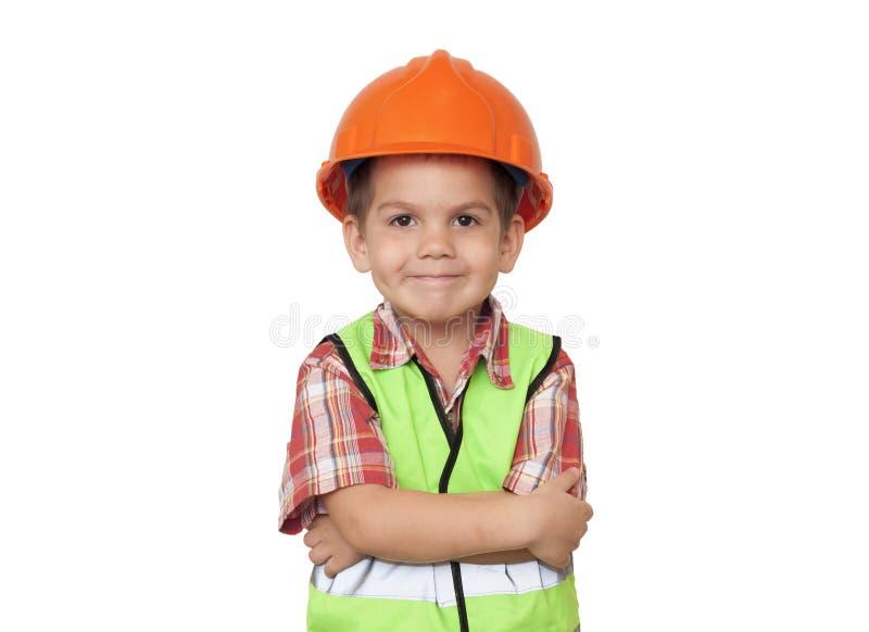 Trabajador de construcción del niño imagen de archivo libre de regalías