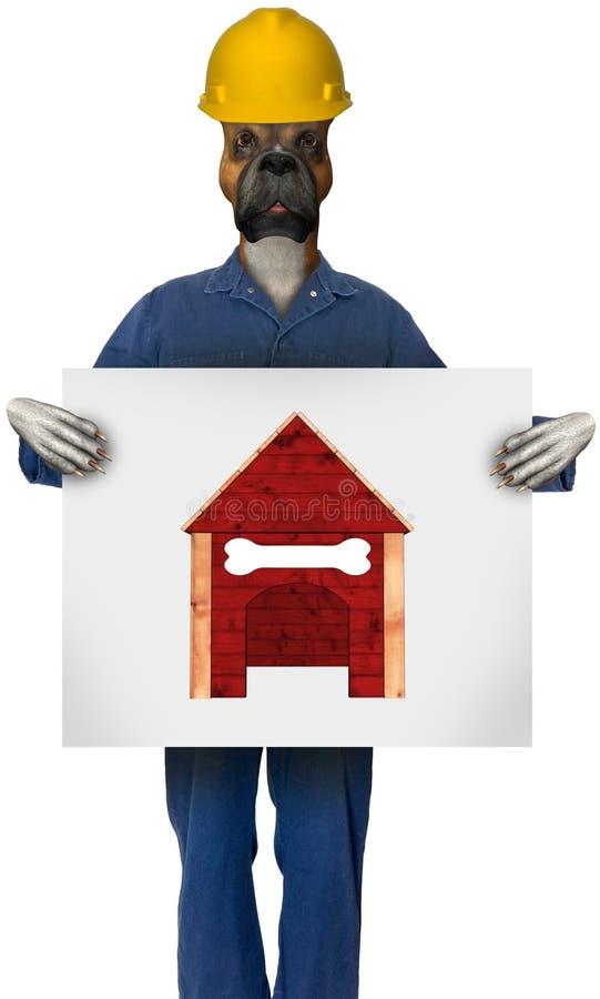 Trabajador de construcción divertido Dog Blueprints imagenes de archivo