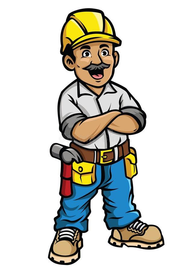 Trabajador de construcción feliz ilustración del vector