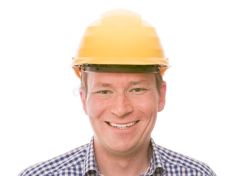 Trabajador de construcción feliz imágenes de archivo libres de regalías