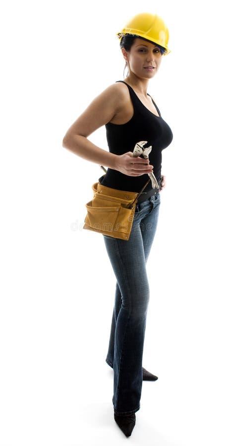 Trabajador de construcción joven de sexo femenino bastante atractivo fotografía de archivo libre de regalías