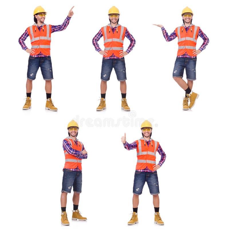 Trabajador de construcción joven que presiona el botón vurtual aislado en wh fotografía de archivo libre de regalías