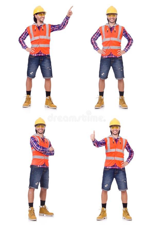 Trabajador de construcción joven que presiona el botón vurtual aislado en wh imagenes de archivo