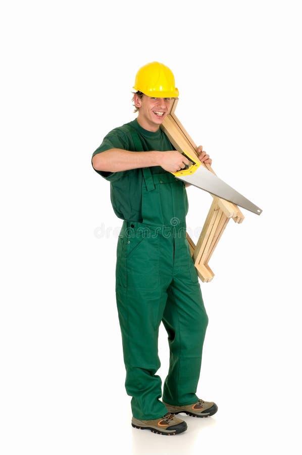 Trabajador de construcción, verde imágenes de archivo libres de regalías