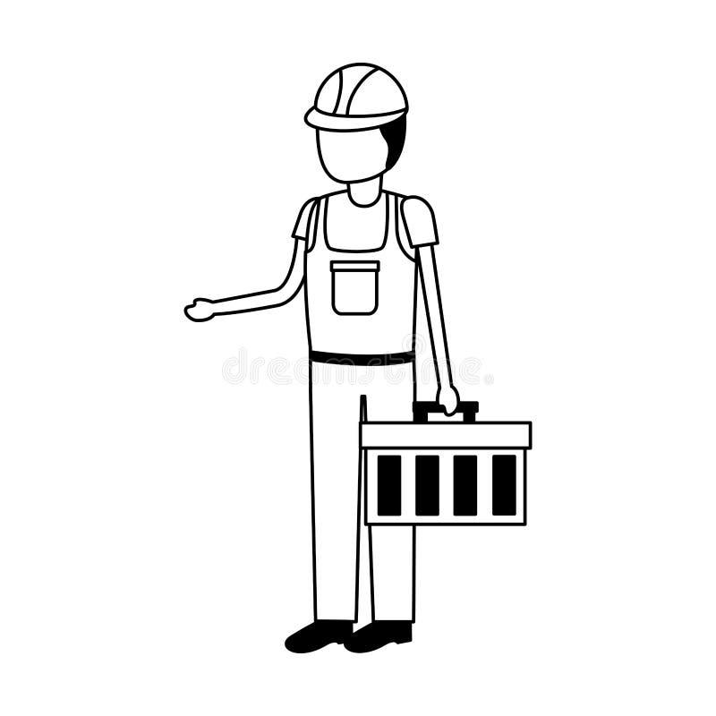 Trabajador de construcci?n con el juego de herramientas ilustración del vector