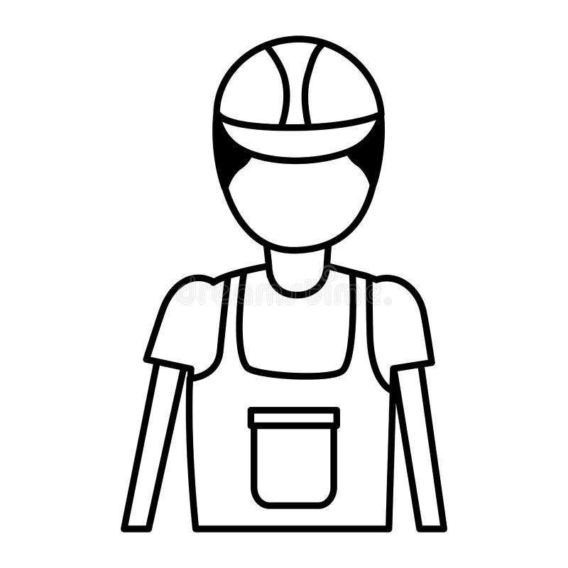 Trabajador de construcci?n en guardapolvo stock de ilustración