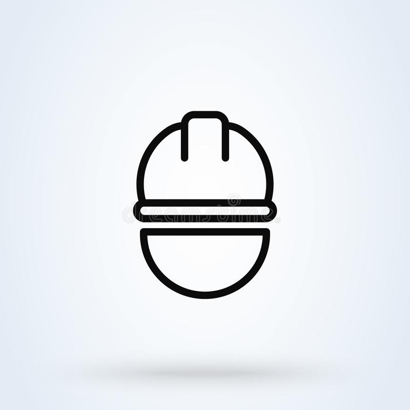Trabajador de construcci?n línea ejemplo moderno del diseño del icono del vector simple del arte libre illustration