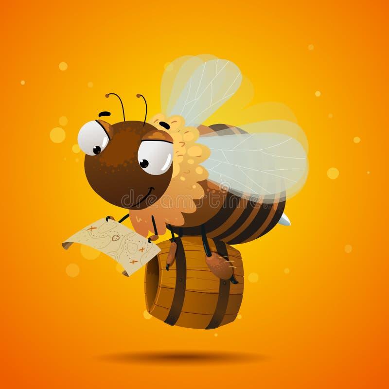 Trabajador de la abeja que busca la miel ilustración del vector