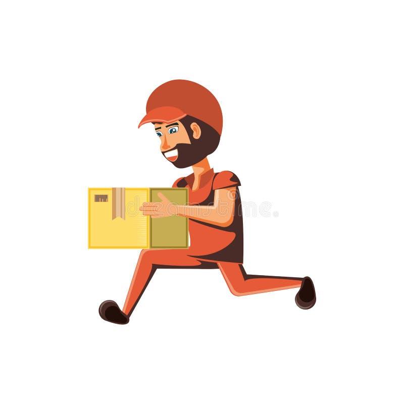 Trabajador de la entrega con la elevación de la caja ilustración del vector