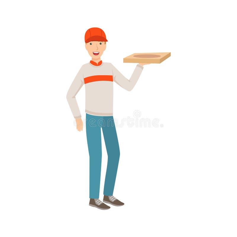 Trabajador de la entrega del hombre que lleva a cabo la pizza, la parte de gente feliz y su colección de las profesiones de carac ilustración del vector