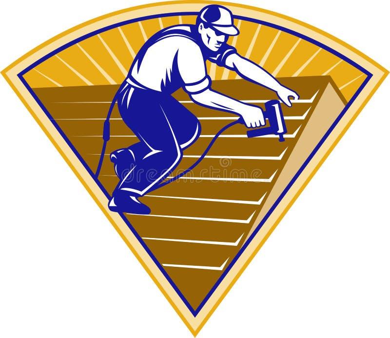 Trabajador de material para techos del Roofer que trabaja en la azotea stock de ilustración