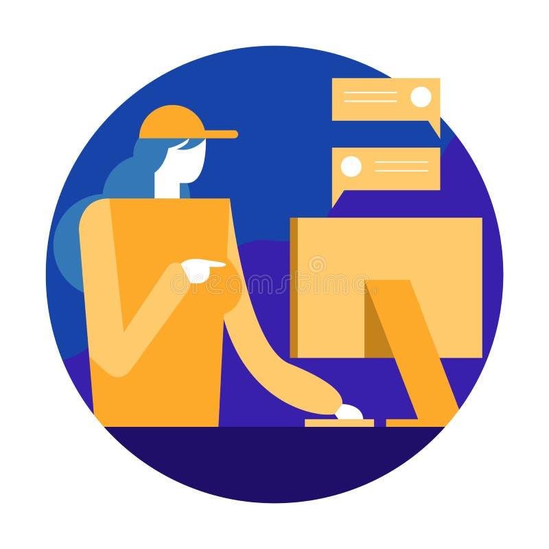 Trabajador de mujer que charla y que comprueba orden en el ordenador Desig plano ilustración del vector