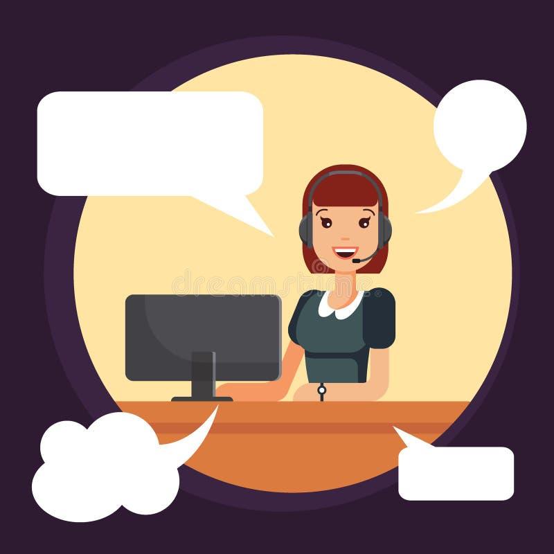 Trabajador de mujer sonriente del centro de atención telefónica por el ordenador El despachador, operador del servicio de ayuda u ilustración del vector