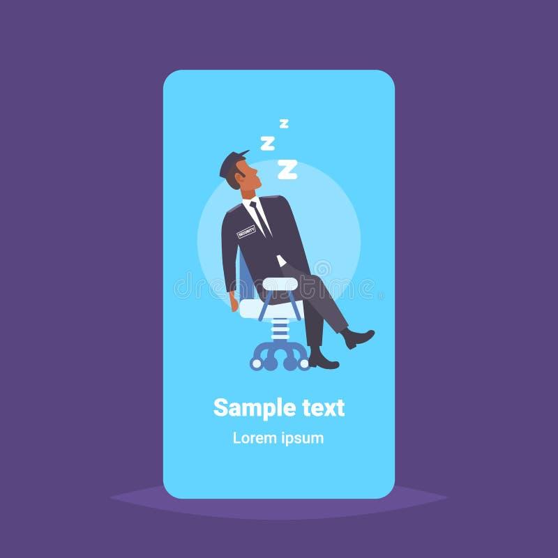 Trabajador de sexo masculino del guardia de seguridad que duerme en el hombre afroamericano del lugar de trabajo en concepto con  ilustración del vector