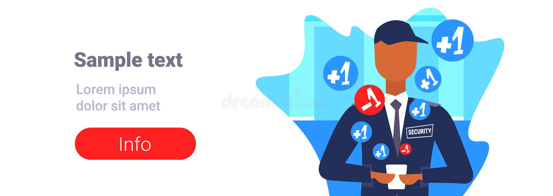 Trabajador de sexo masculino del guardia de seguridad que usa al hombre social del concepto de los medios de la aplicación móvil  stock de ilustración