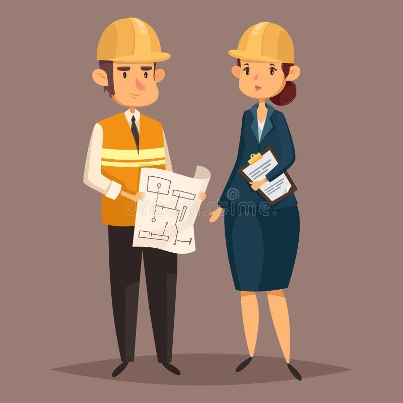 Trabajador de sexo masculino del ingeniero con plan y mujer en casco libre illustration