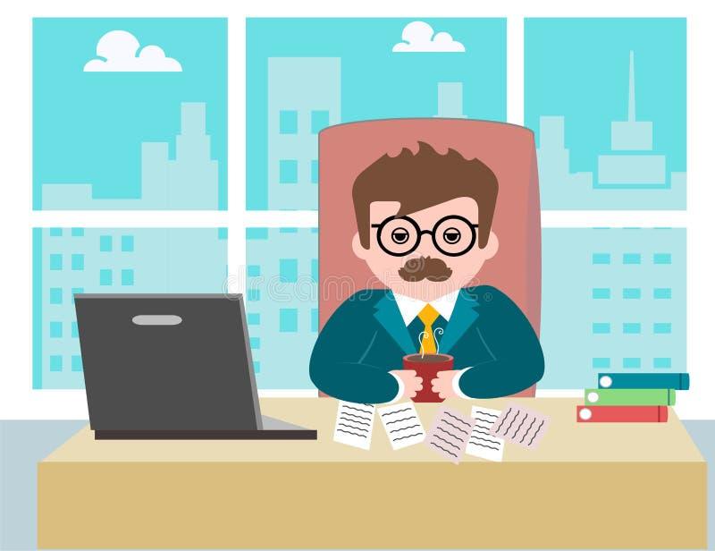 Trabajador de sexo masculino joven del hombre de negocios del individuo que se sienta en la oficina en el trabajo ilustración del vector