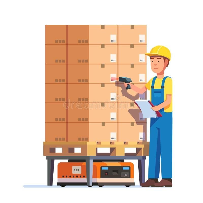 Trabajador de Warehouse que comprueba la plataforma de las mercancías libre illustration