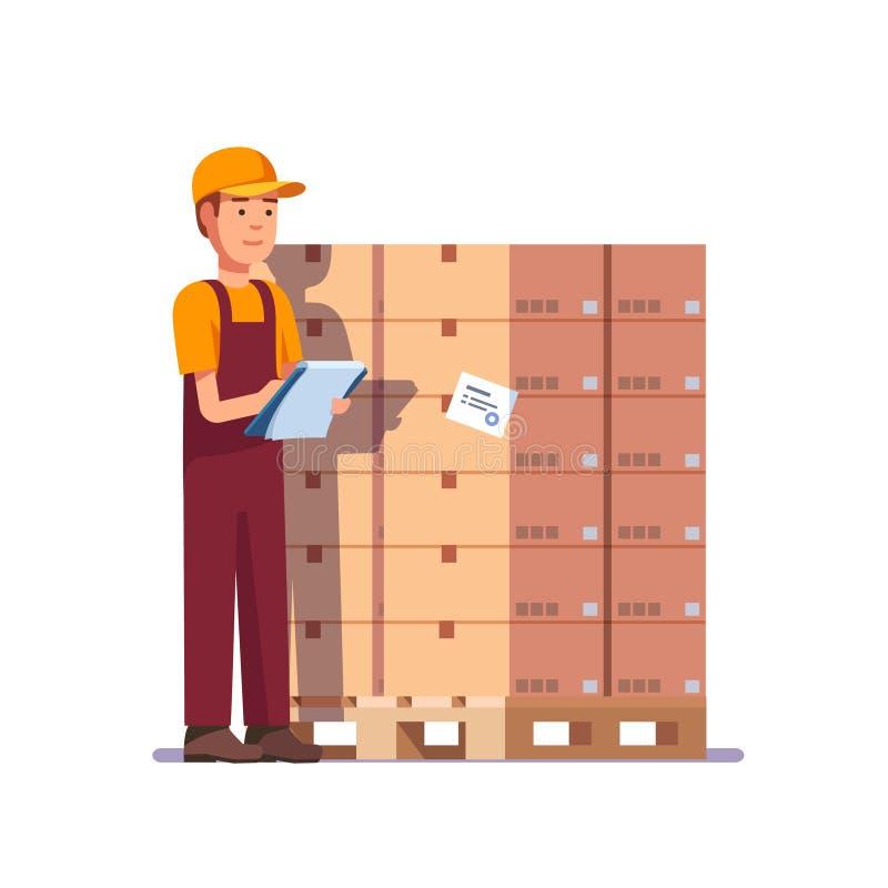 Trabajador de Warehouse que comprueba mercancías en la plataforma stock de ilustración