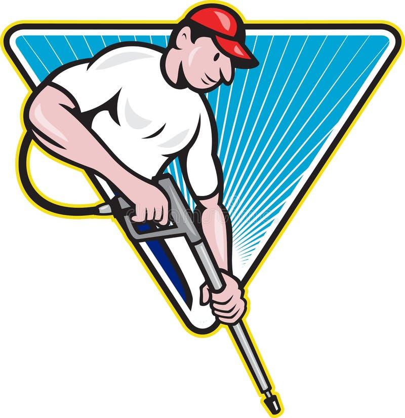 Trabajador del arenador del agua de la presión de la potencia que se lava ilustración del vector