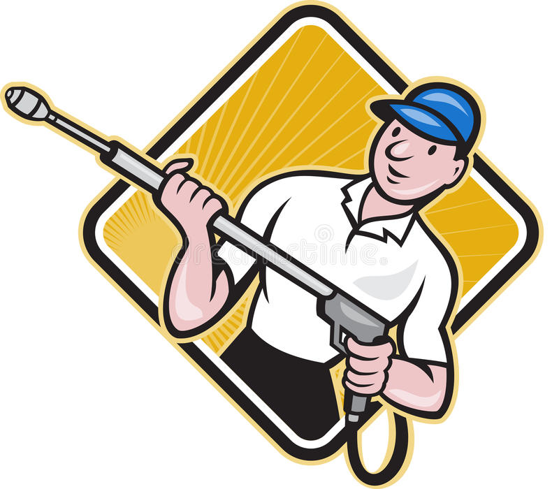 Trabajador del arenador del agua de la presión de la potencia que se lava libre illustration