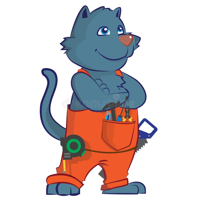 Trabajador del carpintero de la historieta del gato libre illustration