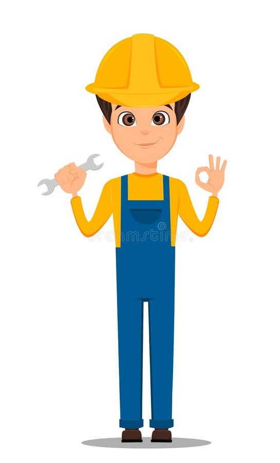 Trabajador del constructor Trabajador hermoso de la reparación que sostiene la llave y que muestra la muestra ACEPTABLE ilustración del vector