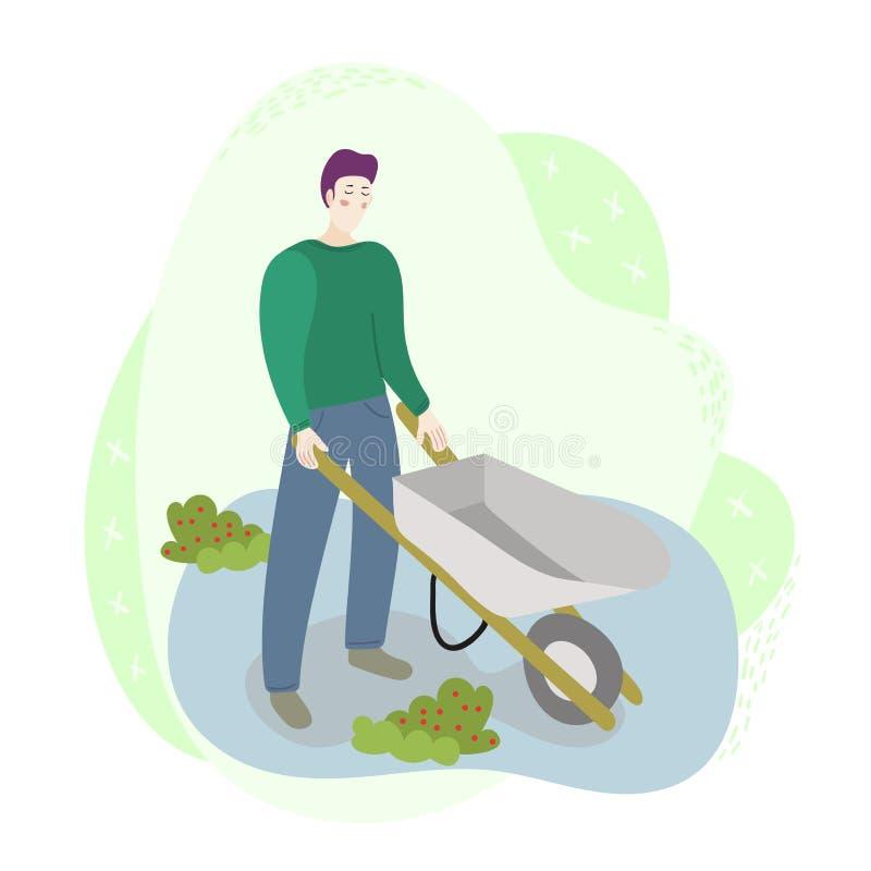 Trabajador del granjero del hombre que sostiene una carretilla en el campo Escena del trabajo de la cosecha de la agricultura de  libre illustration