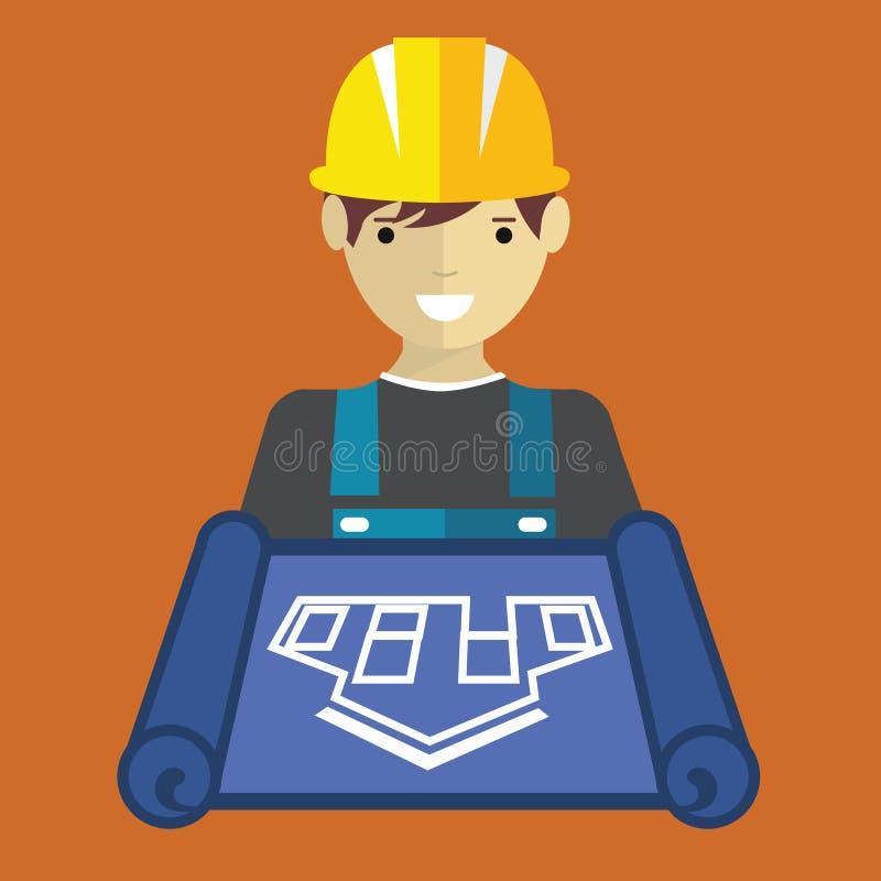 Trabajador del ingeniero con el modelo stock de ilustración
