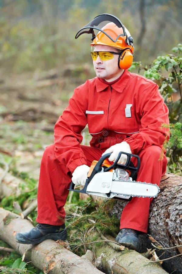 Trabajador del leñador con la motosierra en el bosque fotografía de archivo
