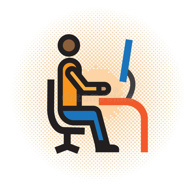 Trabajador delante de un de computadora personal ilustración del vector