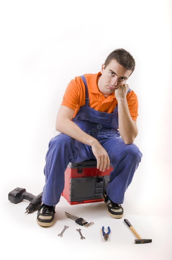 Trabajador deprimido fotos de archivo