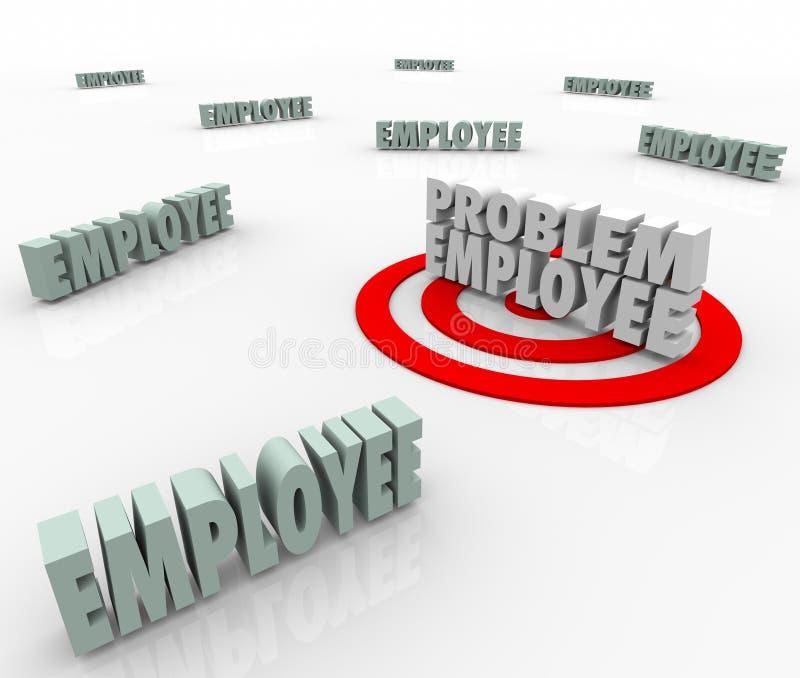 Trabajador difícil del empleado de problema apuntado en mano de obra de la compañía ilustración del vector