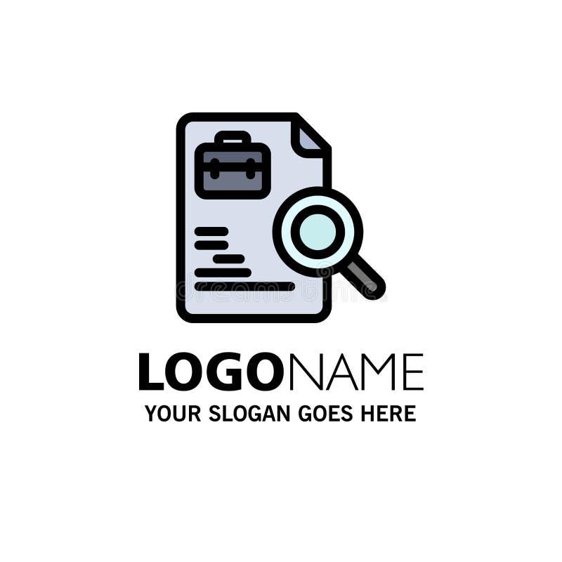 Trabajador, documento, búsqueda, negocio Logo Template de los trabajos color plano ilustración del vector
