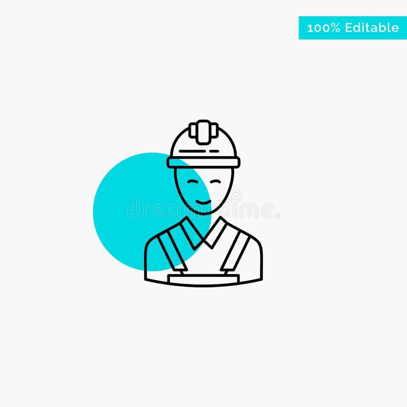 Trabajador, edificio, carpintero, construcción, icono del vector del punto del círculo del punto culminante de la turquesa de la  stock de ilustración