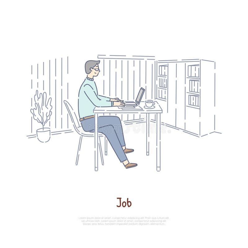 Trabajador, empleado en el lugar de trabajo, oficina del jefe en privado, redactor, profesor, escritor que usa el ordenador portá stock de ilustración