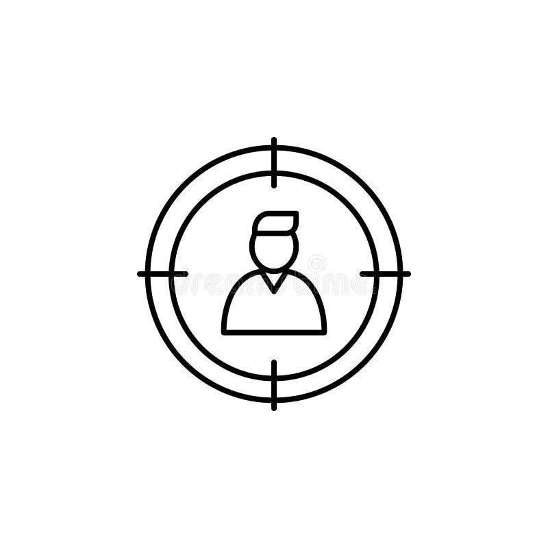 trabajador en el centro de la vista Elemento del icono de la entrevista de trabajo para los apps móviles del concepto y del web L libre illustration