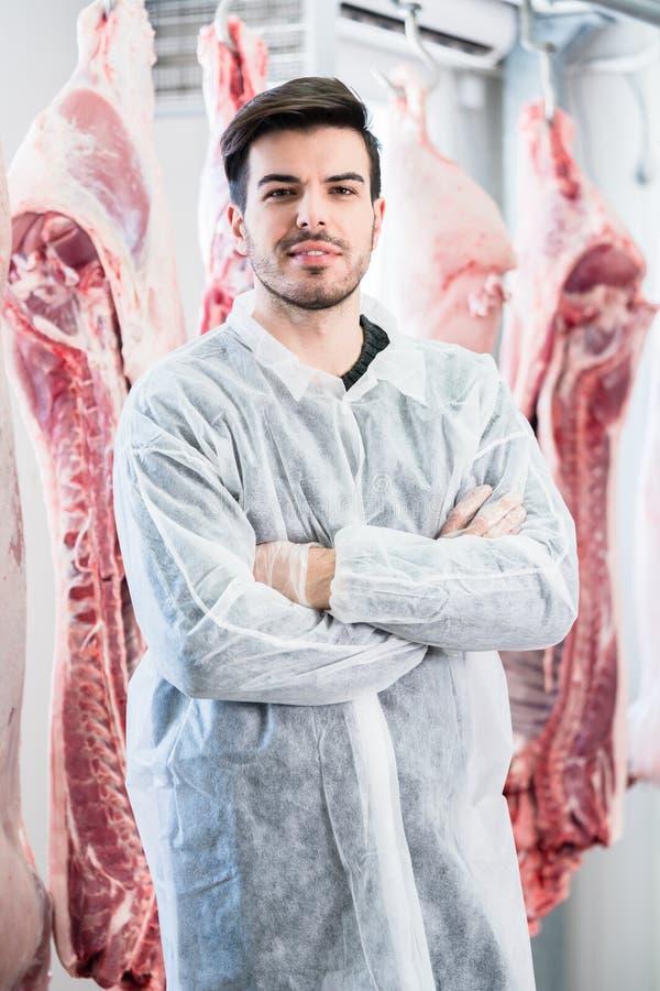 Trabajador en la carnicería que se coloca delante de las reses muertas imagen de archivo