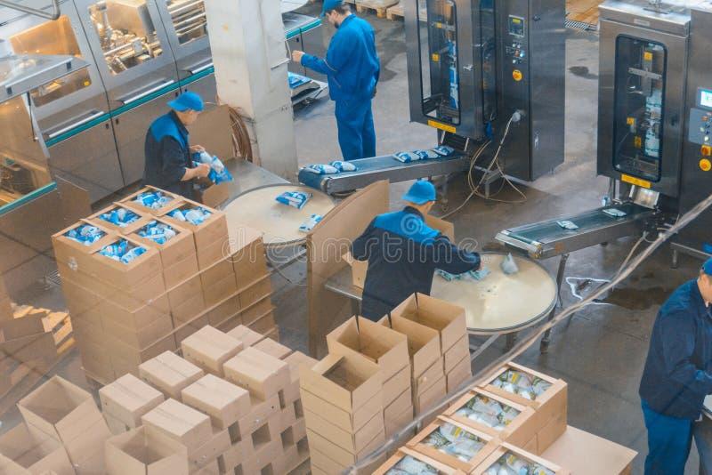 Trabajador en la fábrica de la lechería foto de archivo