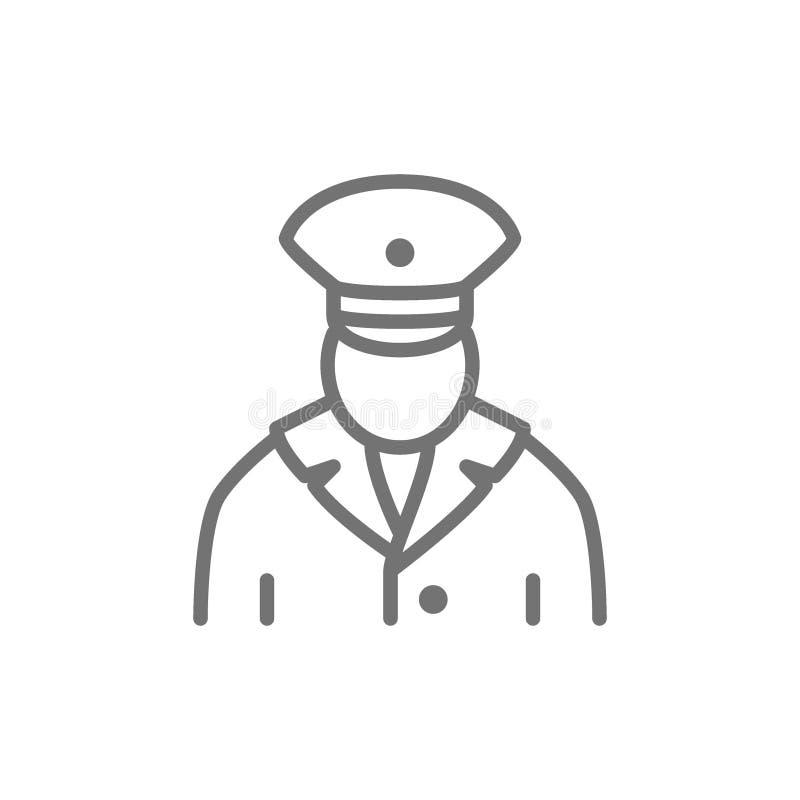 Trabajador ferroviario, conductor de tren, línea icono del subterráneo libre illustration