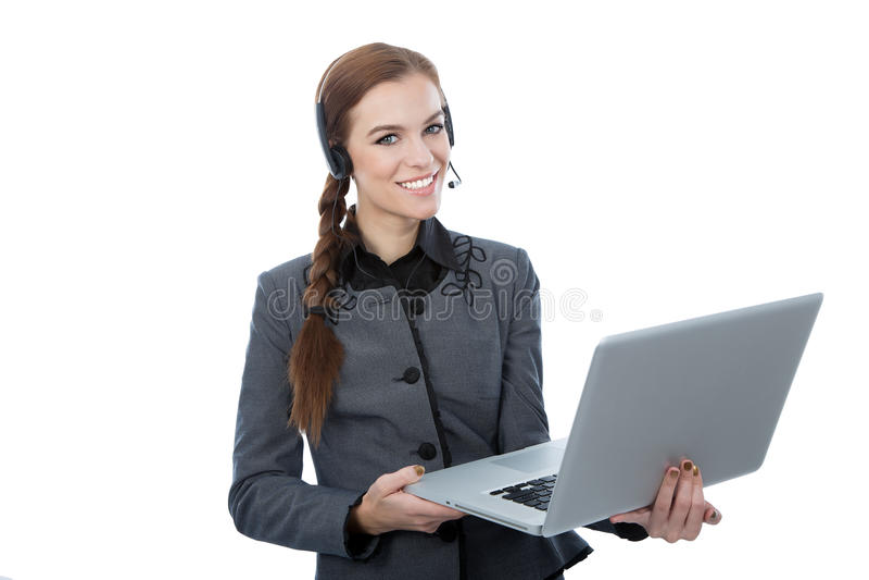 Trabajador hermoso sonriente del servicio de atención al cliente. fotos de archivo