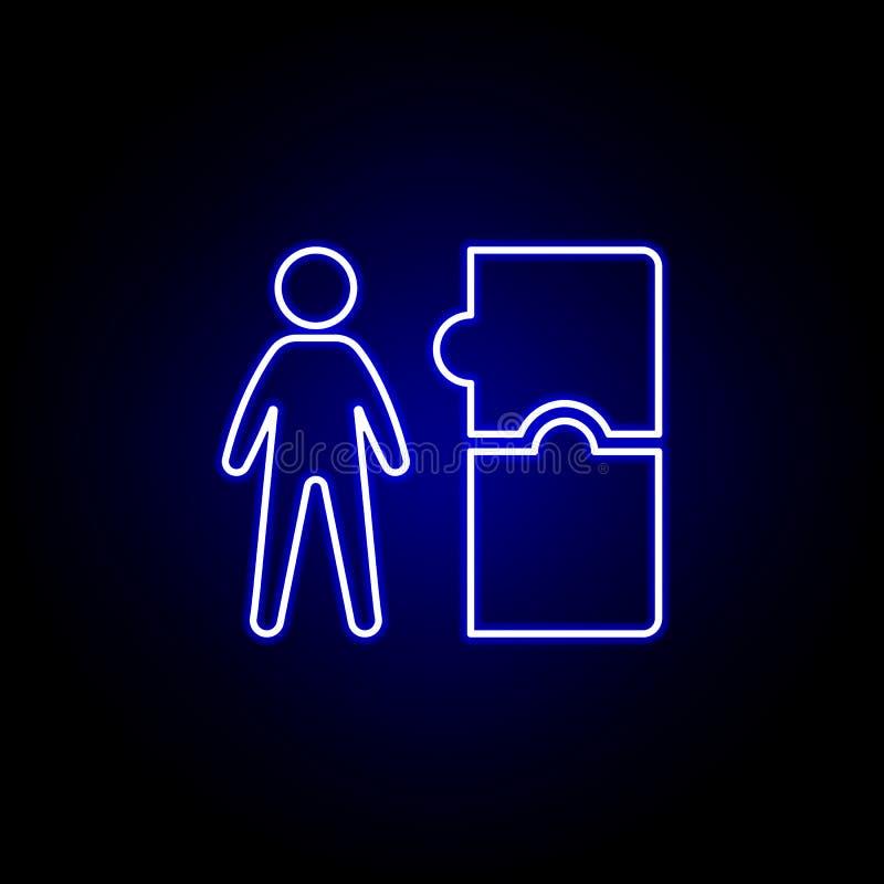 Trabajador, icono del rompecabezas Elementos del ejemplo de los recursos humanos en el icono de ne?n del estilo Las muestras y lo libre illustration