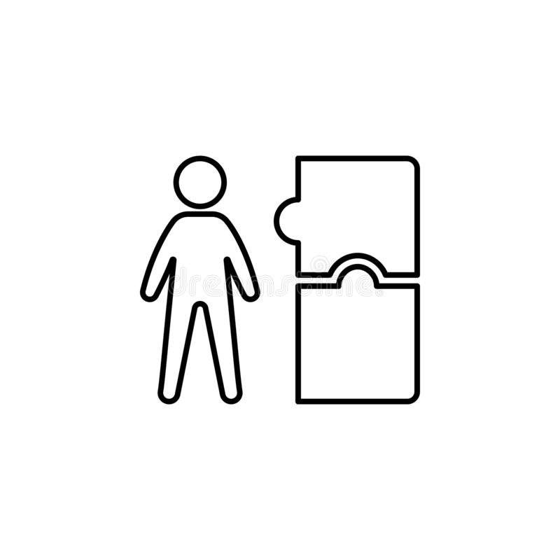 Trabajador, icono del rompecabezas en el fondo blanco Puede ser utilizado para la web, logotipo, app móvil, UI, UX ilustración del vector