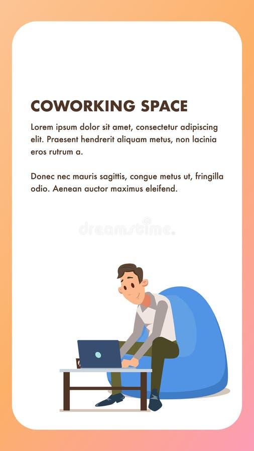 Trabajador independiente con el ordenador portátil en silla del Beanbag ilustración del vector