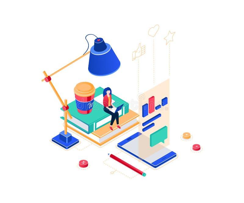 Trabajador independiente - ejemplo isométrico colorido moderno del vector stock de ilustración