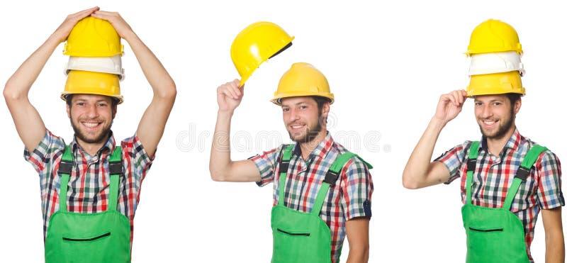 Trabajador industrial aislado en blanco imagen de archivo