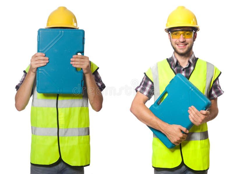 Trabajador industrial aislado en blanco foto de archivo