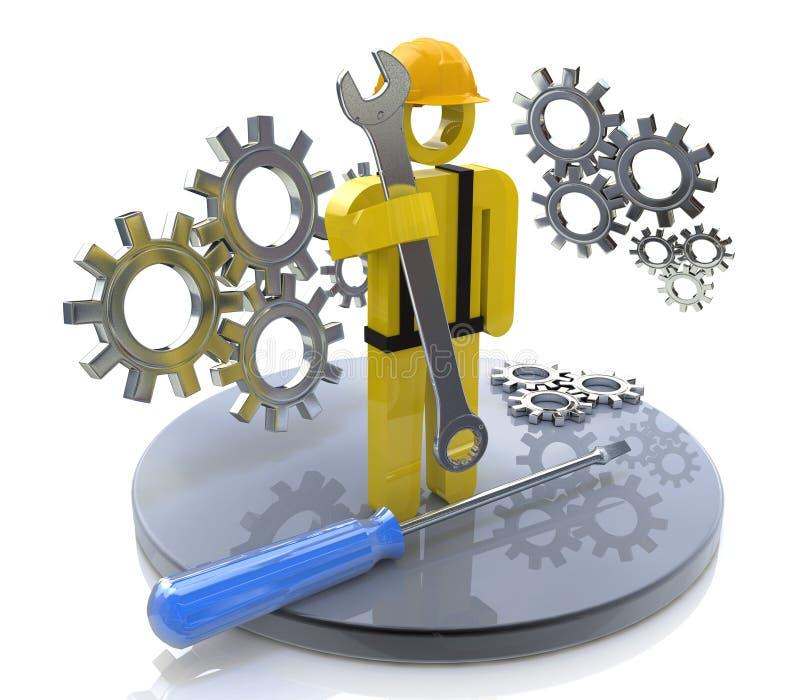 Trabajador industrial con la llave y los engranajes stock de ilustración