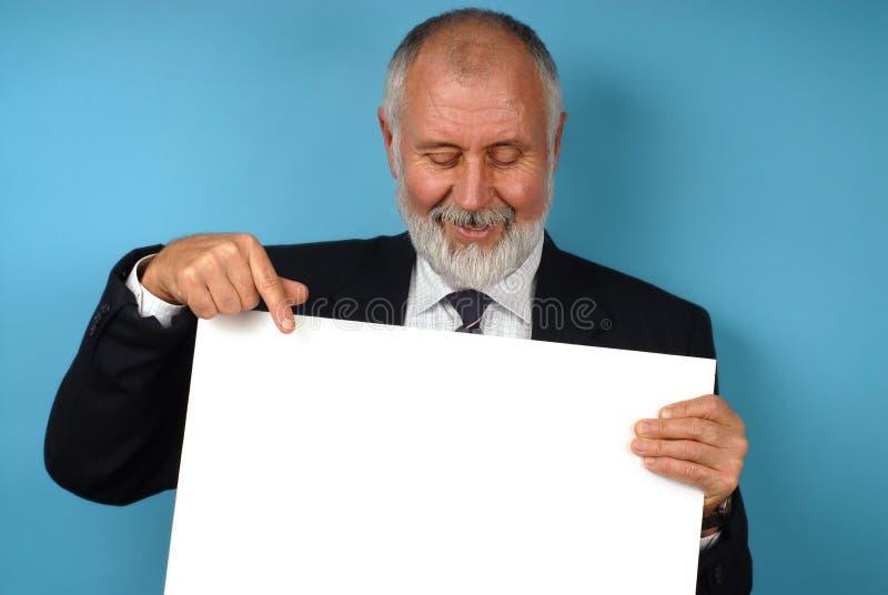 Trabajador jubilado con el espacio de la copia fotos de archivo